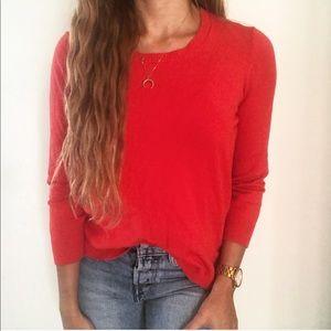 Theory Red 3/4 Sleeve Crewneck Mila Dreams Sweater